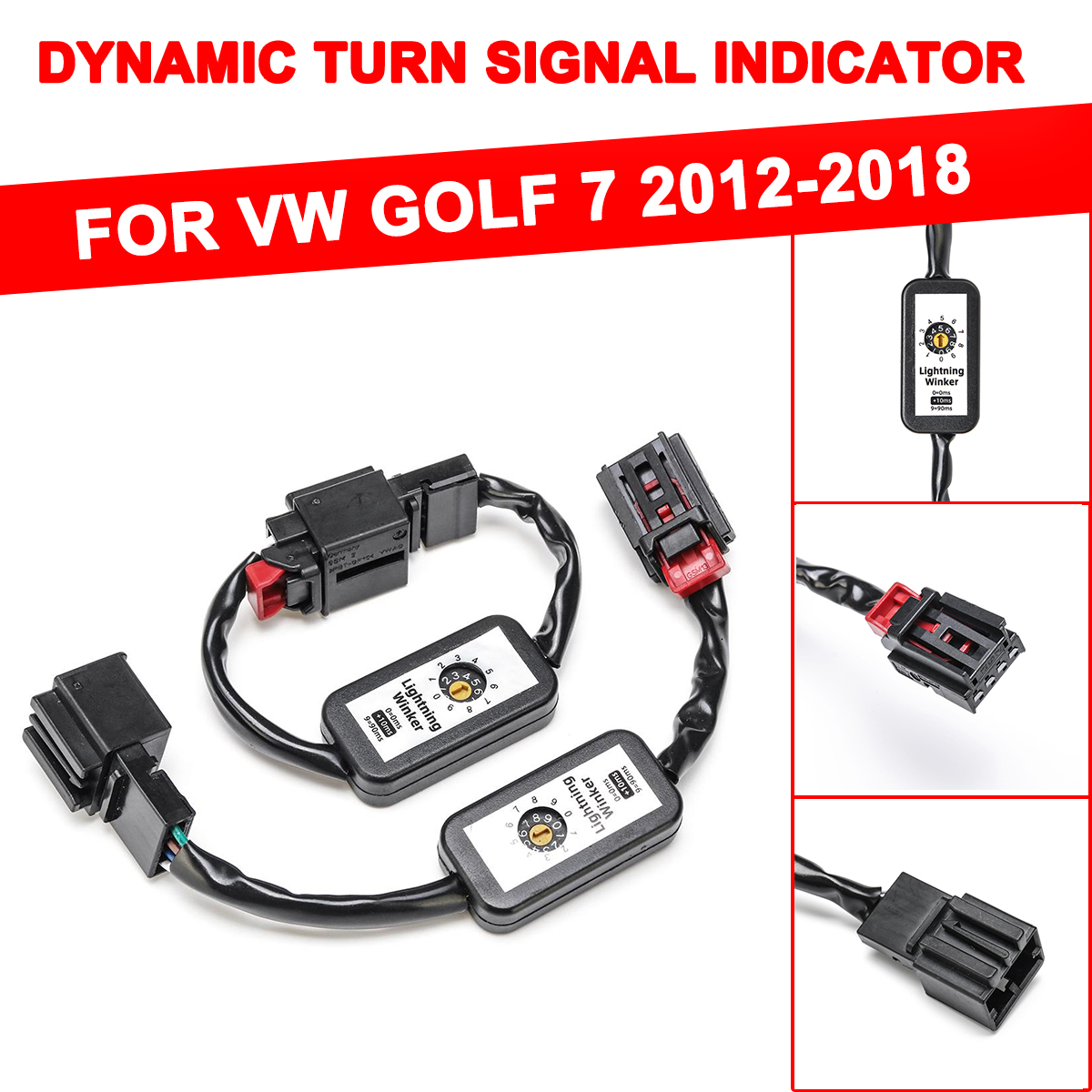 1Pair Dynamic Turn Signal Indicator <font><b>LED</b></font> Taillight Left&Right <font><b>Tail</b></font> <font><b>Light</b></font> Add-on Module Cable Wire Harnes For Volkswagen VW <font><b>Golf</b></font> 7 image