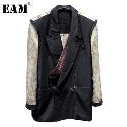 [EAM] Frauen Schwarz Rückseite Gedruckt Große Größe Blazer Neue Revers Lange Hülse Lose Fit Jacke Mode Flut Frühjahr herbst 2020 1X035