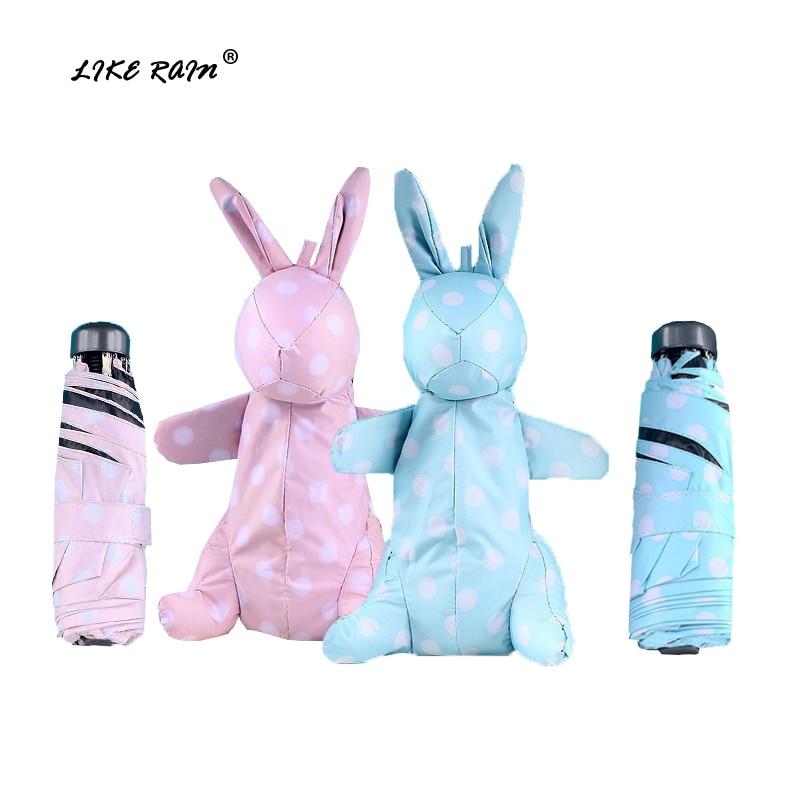 LIKE RAIN Brand Small Kids Toys Umbrella Mini Fashion Folding Pockets Umbrella Rain Women Cartoon Rabbit Travel Umbrella UBY12