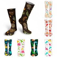 Носки женские высокие из натурального хлопка милые цветные эластичные