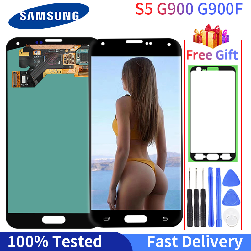 100% Tested Good Working LCD For <font><b>SAMSUNG</b></font> Galaxy S5 <font><b>G900F</b></font> LCD <font><b>Display</b></font> G900 G900A G900T G900I LCD Touch Screen Digitizer Assembly image