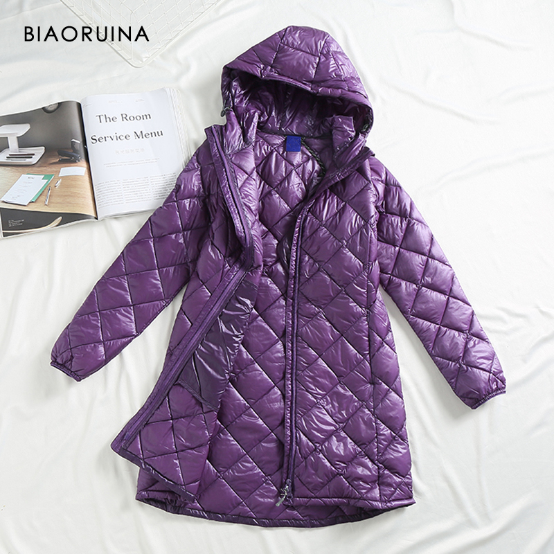 BIAORUINA 3 Color Women's Solid Casual Keep Warm Thin Long Hooded   Down     Coat   Female Loose Fashion Basic Winter Outerwear