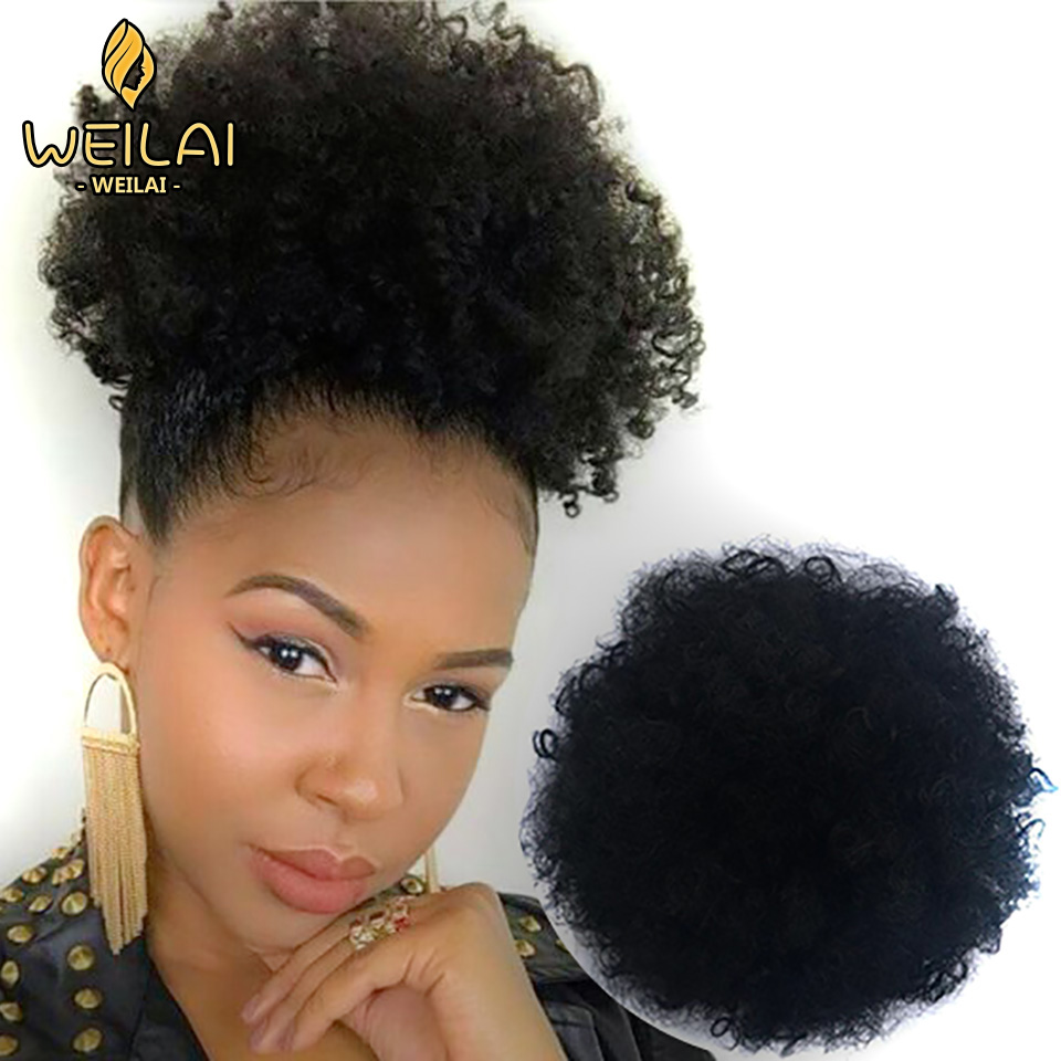 WEILAI Wrap Drawstring Puff Ponytail African American Afro Short Kinky Curly Bun Hairpin Hairpiece Hair Accessories