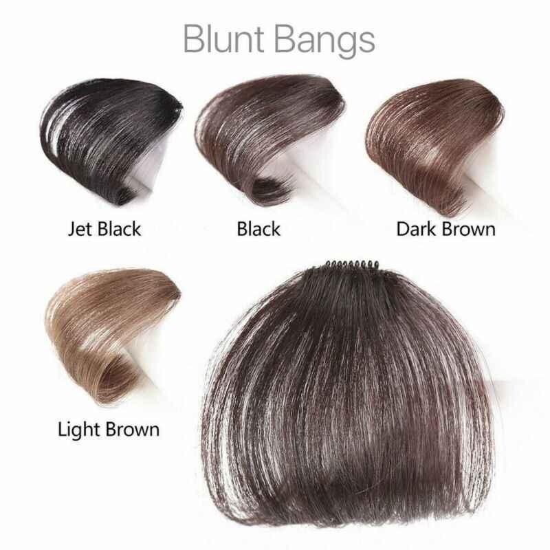 Baru Tipis Air Rapi Tipis Poni Nyata Remy Rambut Manusia Klip Di Pinggiran Depan Hairpiece Air Poni Remy Rambut Manusia ekstensi Klip