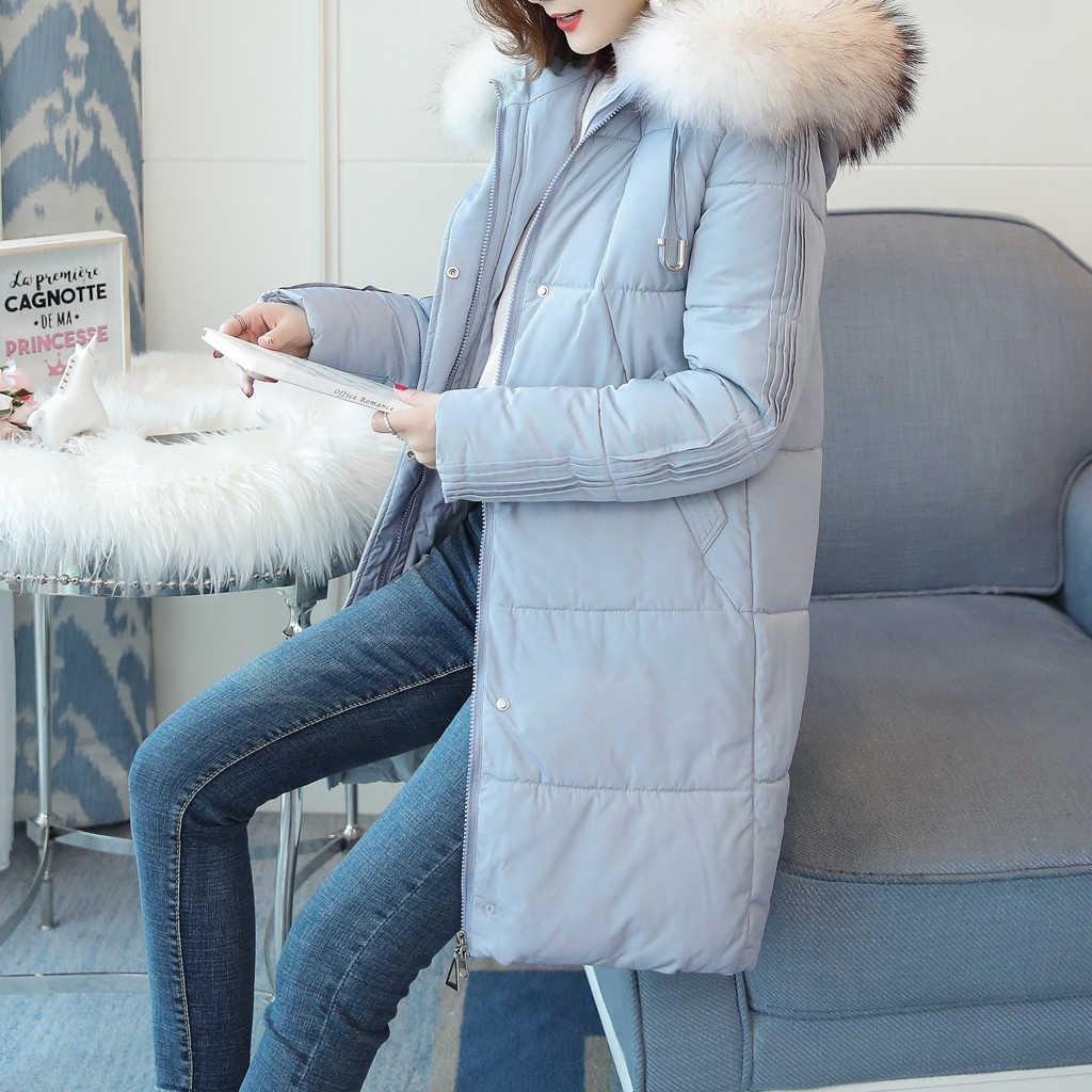 JAYCOSIN frauen Winter Jacke Künstliche Große Pelz Kragen Parkas Solide Zipper Weibliche Baumwolle gefütterte Mantel Warme Baumwolle Grund 904