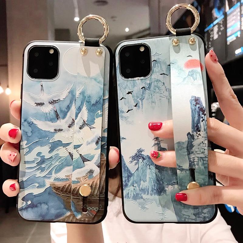 Чехол Snow mountain для телефона iphone 12 Mini 11 Pro xs max XR X 8 7 6 plus, чехол с ремешком на запястье, чехлы с рельефной подставкой из мягкого тпу|Специальные чехлы| | АлиЭкспресс