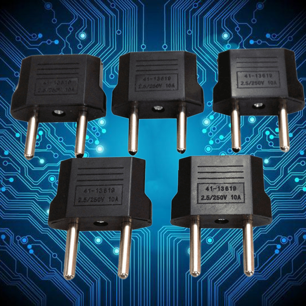 5PCS US Plug To EU Power Plug Conversion Plug Power Converter Round Pin Socket Travel Adapter
