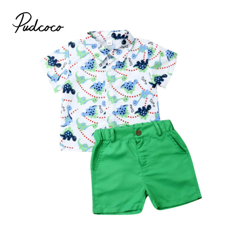 Brand Casual Toddler Outfits Baby Boy Summer Clothes Newborn Boy Clothing Set Sports Shirt+ Shorts Suits Leaves Print Clothes