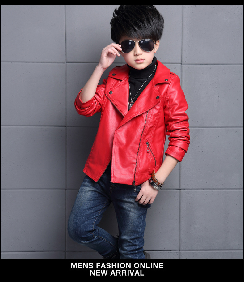 Jacket New Style BOY'S 4 Leather Coat Autumn And Winter 6 Big Boy Fold-down Collar 7 Autumn And Winter Boys 9 Suit Collar 13 Lea