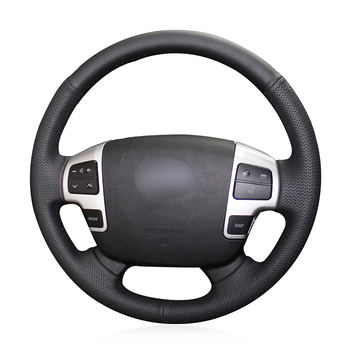 Hand-stitched Black Genuine Leather Car Steering Wheel Cover for Toyota Land Cruiser 2008-2015 Tundra 2007- 2013 Sequoia 2008