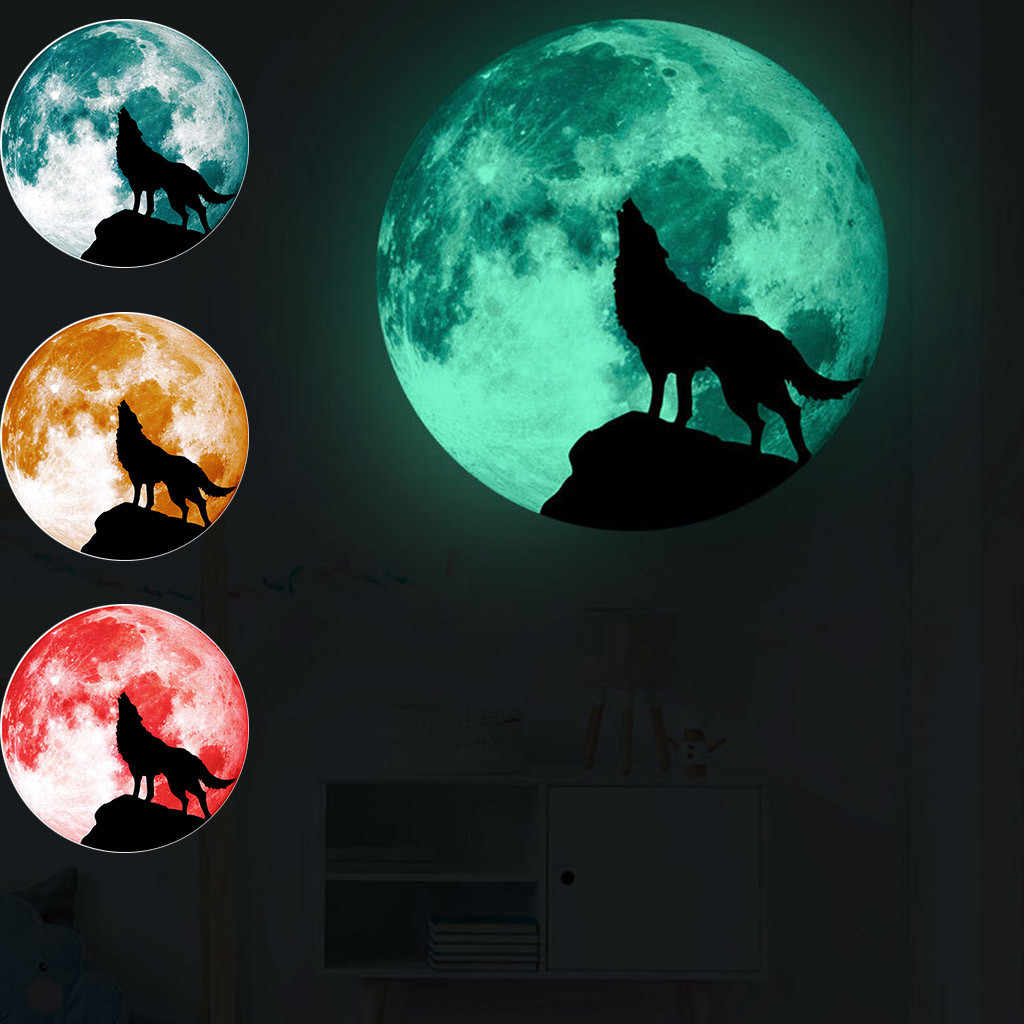 New product Creative Luminous Moon Wall Stickers Halloween Decoration Stickers Luminous Wolf Drop shipping Accessories Home