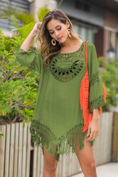 2020 Sexy Lace Hollow Crochet Beach Cover Up Women Bikini Cover Up Beach Dress Tunics Swimsuit Bathing Suits Cover-Up Beach wear 7