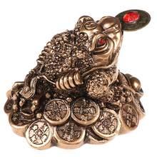 Chinês fengshui dinheiro moeda sapo estatueta sorte fortuna riqueza ouro sapo mesa decoração ornamentos para escritório decoração de casa
