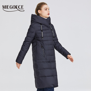 Image 2 - MIEGOFCE 2019 New Winter Womens Collection of Coat Knee Length Windproof Womens Jacket With Stand Up Collar and Hood Parka