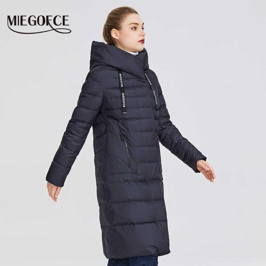MIEGOFCE 2019 nouvelle Collection d'hiver pour femmes de manteau longueur genou coupe-vent veste femme avec col montant et capuche Parka