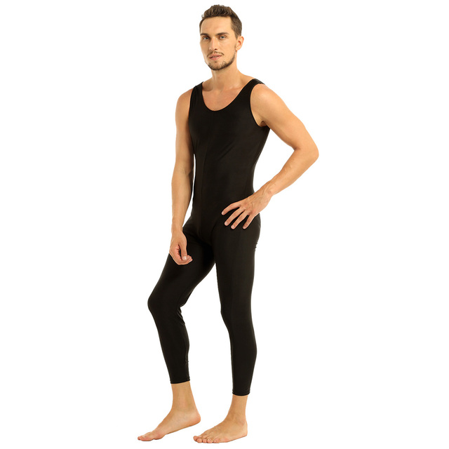 Men Sleeveless Leotard Bodysuit Lycra Tights Leggings for Ballet Dance Vest Teddy Sports Unitard Catsuit Male Dancewear Jumpsuit 3
