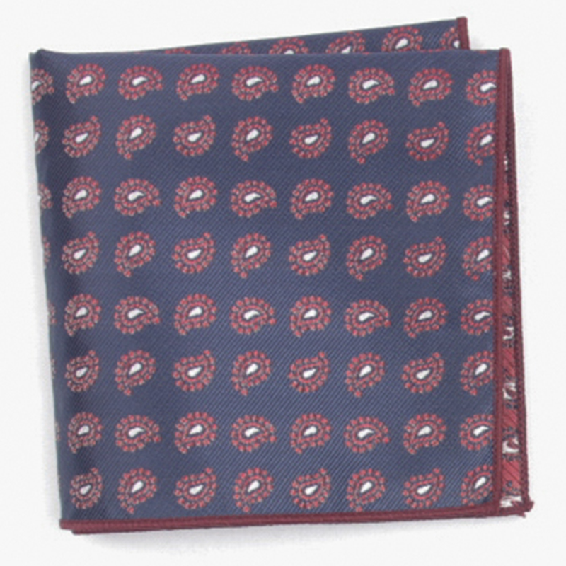 Navy Patterned Pocket Square With Patterns Handkerchief