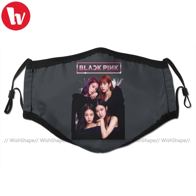 Kpop Clothes Blackpink Mouth Face Mask Black Pink Facial Mask Cool Kawai with 2 Filters for Adult