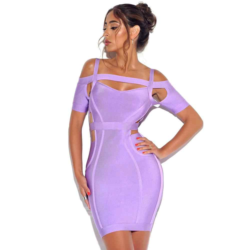 Nieuwste Summer Fashion Sexy Korte Mouw Cut Out Bandage Jurk 2019 Designer Fashion Party Jurk Vestido