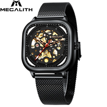 Men Mechanical Watch MEGALITH Fashion Mens Luxury Waterproof Sport Stainless Steel Mesh Watches Relogio Masculino 8202