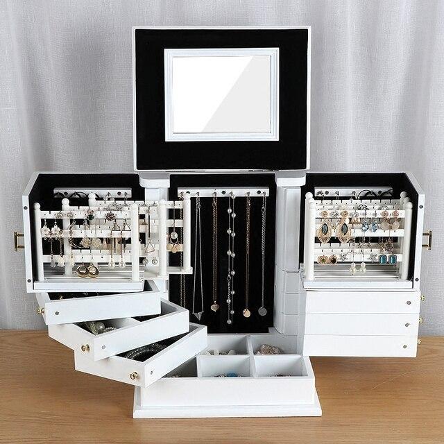 2020 caixas de jóias de madeira grande capacidade de madeira maciça jóias brinco caso de armazenamento do agregado familiar princesa caixas de jóias estilo europeu