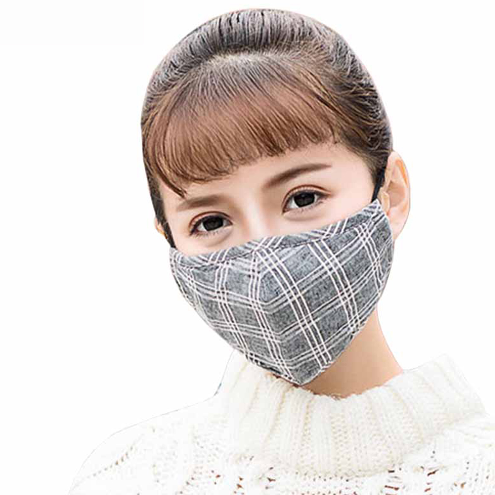 1Pcs Fashion Lattice Mask Dust  Anti Pollution  PM2.5 Activated Carbon Filter Insert Reusable Pollen Cotton Mouth Mask