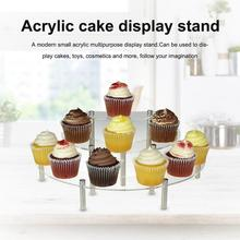Acrylic Cake Display Stand Alloy 3-Tier Clear Semicircle Round Transparent Cupcake Appetizer Dessert Toys Cosmetic Display Stand
