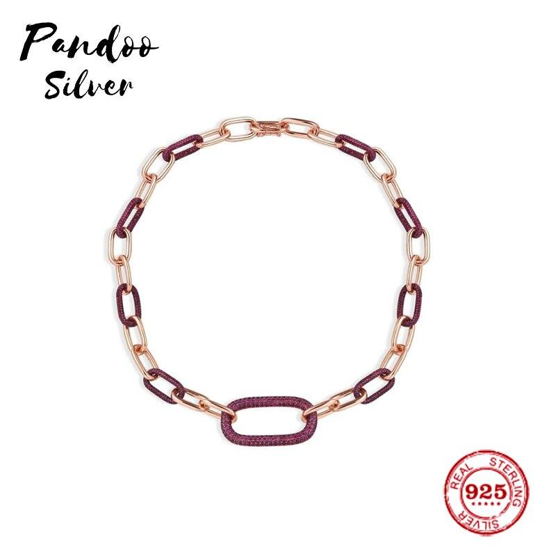 Breloque en argent Sterling copie 1:1 réplique, bourgogne et rose chaîne collier rose argent Monaco luxe bijoux cadeau