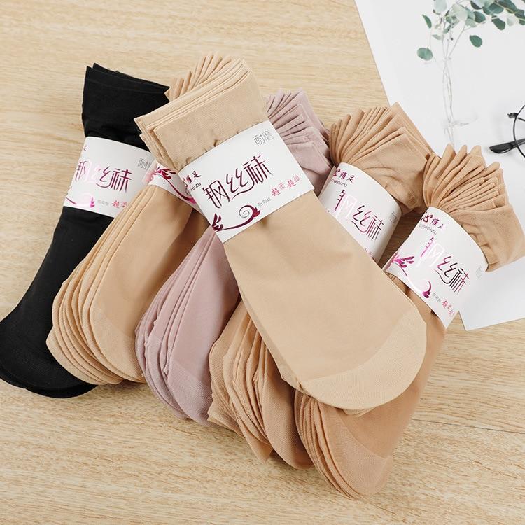 Women Stockings Summer Elastic Fashion Casual See Through Sexy Ultra-thin Stretch  Short Stockings Ladies Sexy Thin Crystal Silk