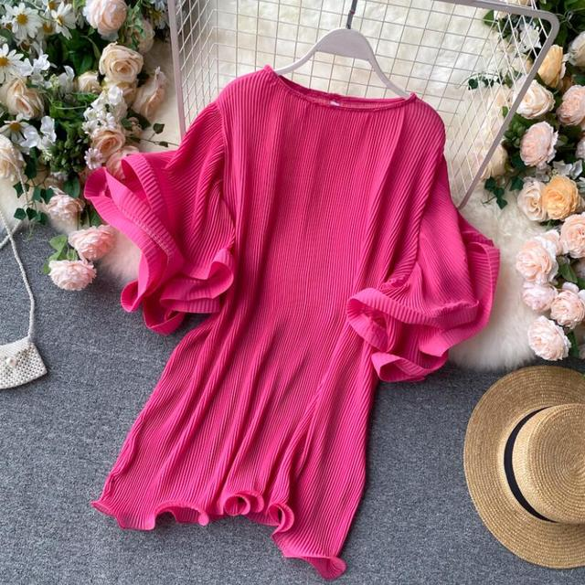 2020 Summer O-Neck Women Ruffles Chiffon Blouse Female Flare Sleeve Shirt Ladies Shirts Solid Color Women Tops And Blouses 2