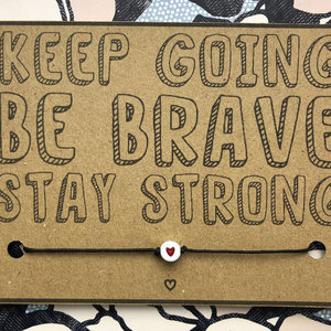 Keep Going Be Brave Wish Bracelet Cute Red Heart Bracelet Mental Health Awareness Gift for Women Men Friendship Incentive Gift