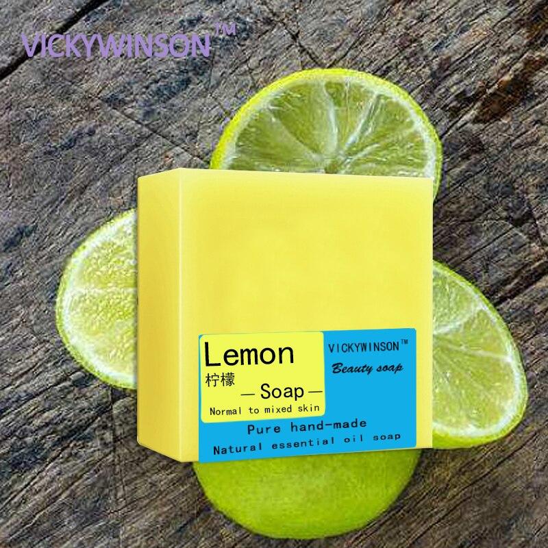 VICKYWINSON Lemon Handmade Soap 100g Pure Hand-made Lemon Flavor Essential Oil Cleansing Acarid Removal Soap Repair Bacterial