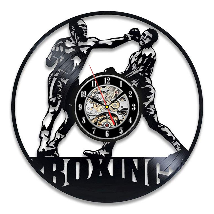 Boxing Vinyl Record Wall Clock Modern Design Fighting Sport 3D Decoration Boxing Club Clock Wall Watch Home Decor Gift For Boxer