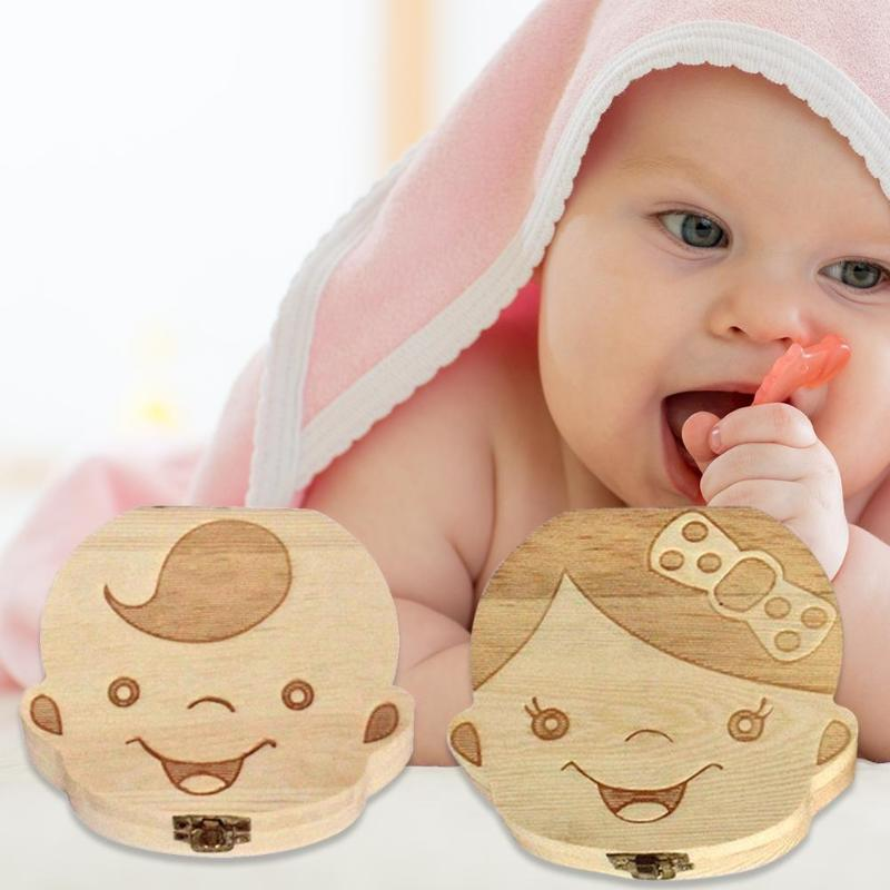 Wooden Baby Teeth Box Save Organizer Children Kids Milk Teeth Storage Box Handmade Wooden Baby Deciduous Teeth Collection Box