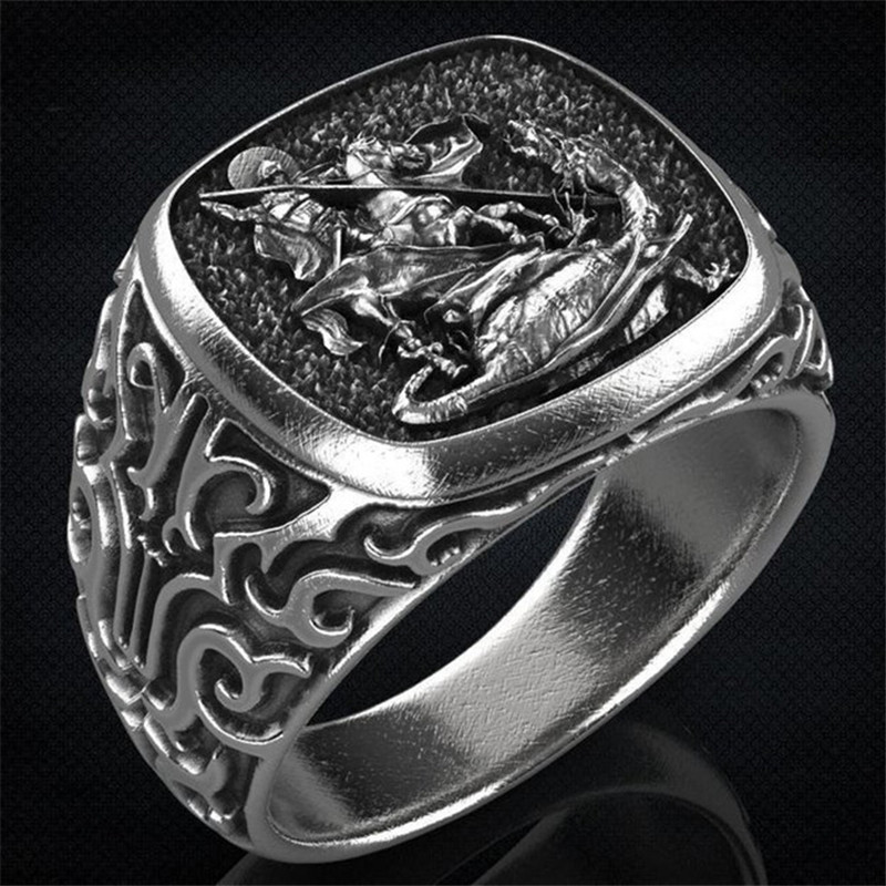 Punk Vintage Saint George Hero Rings For Men White Gold Jewelry European and American Myths Ward off Evil Spirit Retro Male Ring(China)