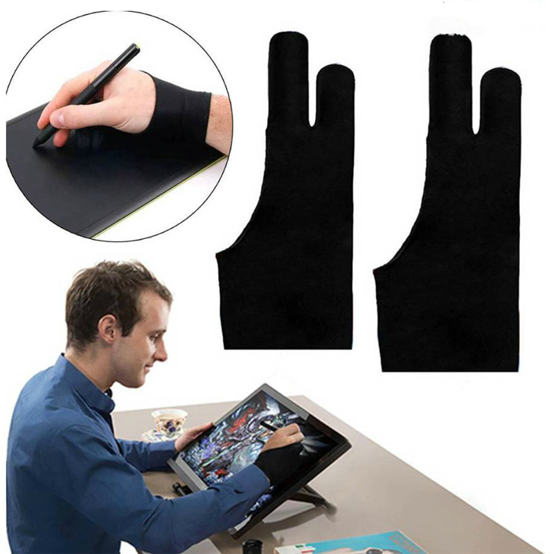 5pcs wholesale Black 2 finger artist glove anti-fouling for drawing digital tablet writing glove Art Students