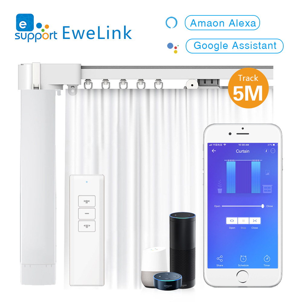 Ewelink WiFi Intelligent Smart Curtain Motor Electric Curtain Track Set Motorized Blinds Compatible With Alexa Google Smart Home