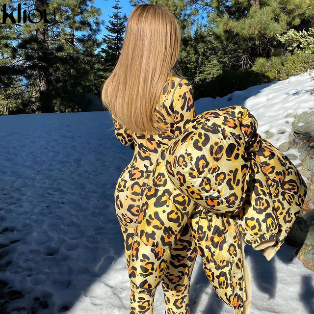 Kliou Leopard Print Jumpsuit Women Autumn Mock Neck Full Finger Skinny Rompers 2021 Body-shaping Overolls Female Streetwear Hot