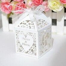 Поцелуй сердце лазерная резка пользовательские свадебные коробки с лентой из органзы