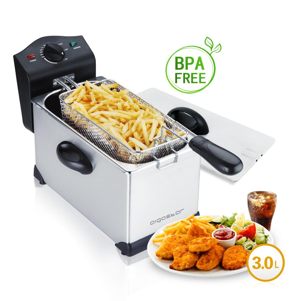 Aigostar Agni 30HEY Fryer 2200W 3L  Control temperature  Oil Bowl removable. Stainless Steel|Electric Deep Fryers| |  - title=