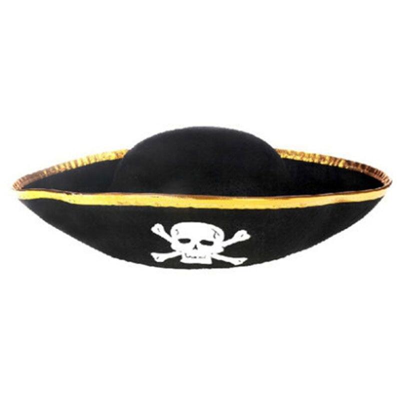 Tri Corner Pirate Hat - Three Cornered Buccaneer Costume Accessory Hat