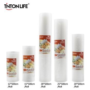 TINTON LIFE Bolsas de almacenamiento Bolsas de conserva de alimentos 12 + 15 + 20 + 25 + 28 cm * 500 cm 5 Rollos/Lot
