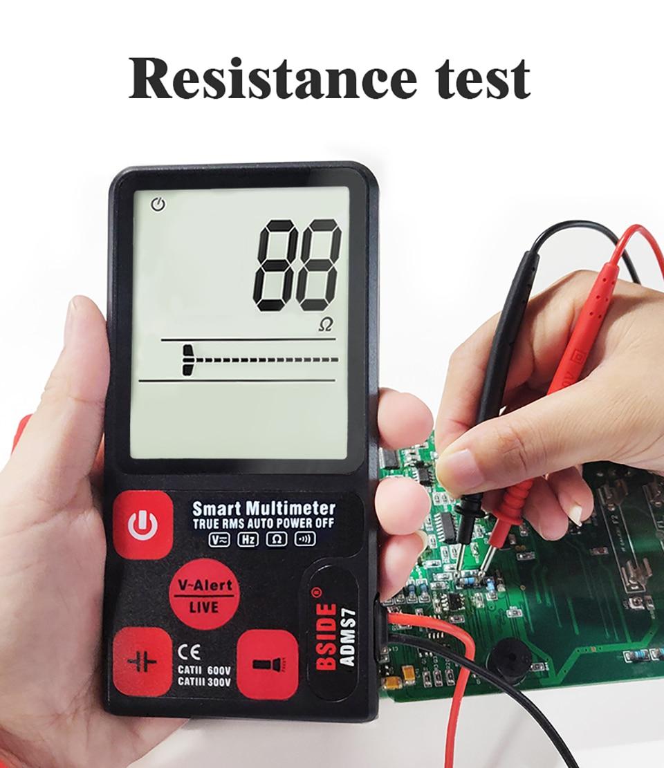 "H183392c16b27464fa1d975566854c40fz Ultra-Portable Digital Multimeter BSIDE ADMS7 S9CL Large 3.5"" LCD 3-Line Display Voltmeter DMM AC DC Voltage NCV Ohm Hz Tester"
