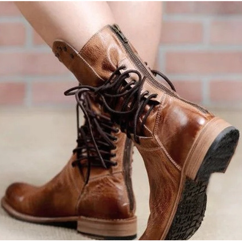 Women-s-Boots-Spring-and-autumn-The-New-Round-head-zipper-Lace-up-Thick-heel-Low(1)