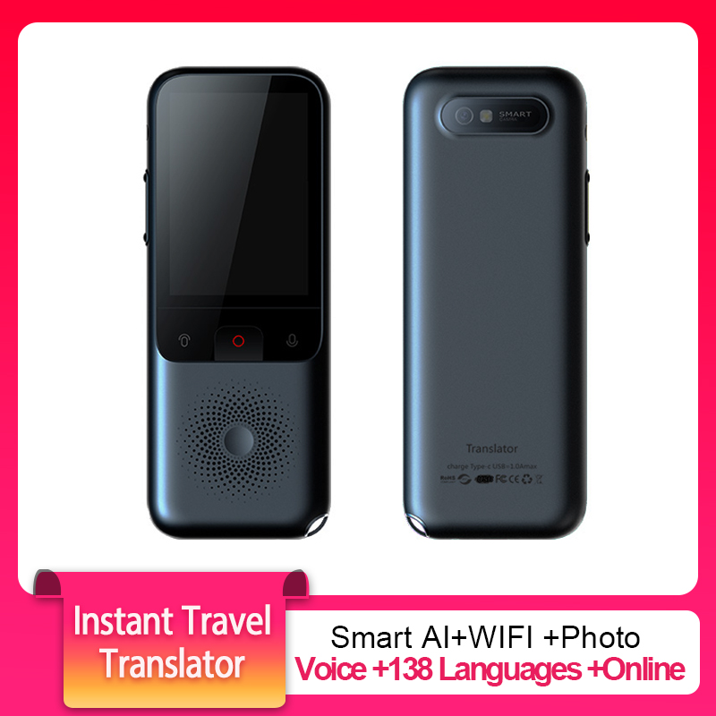 T11 Instant Travel Translator Voice Smart WIFI 138 Languages Online Offline Dialect Real-time Recording Translation HD