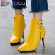 ANNYMOLI Autumn Ankle Boots Women Crystal Zipper Thin Heel Short Boots Fringe Super High Heel Shoes Ladies Winter Big Size 33-46