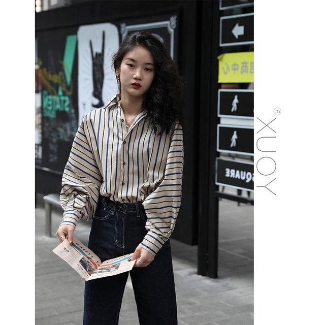 2020 New Blouse Women Casual Striped Top Shirts Blouses Female Loose Blusas Autumn Fall Casual Ladies Office Blouses Top Sexy 3