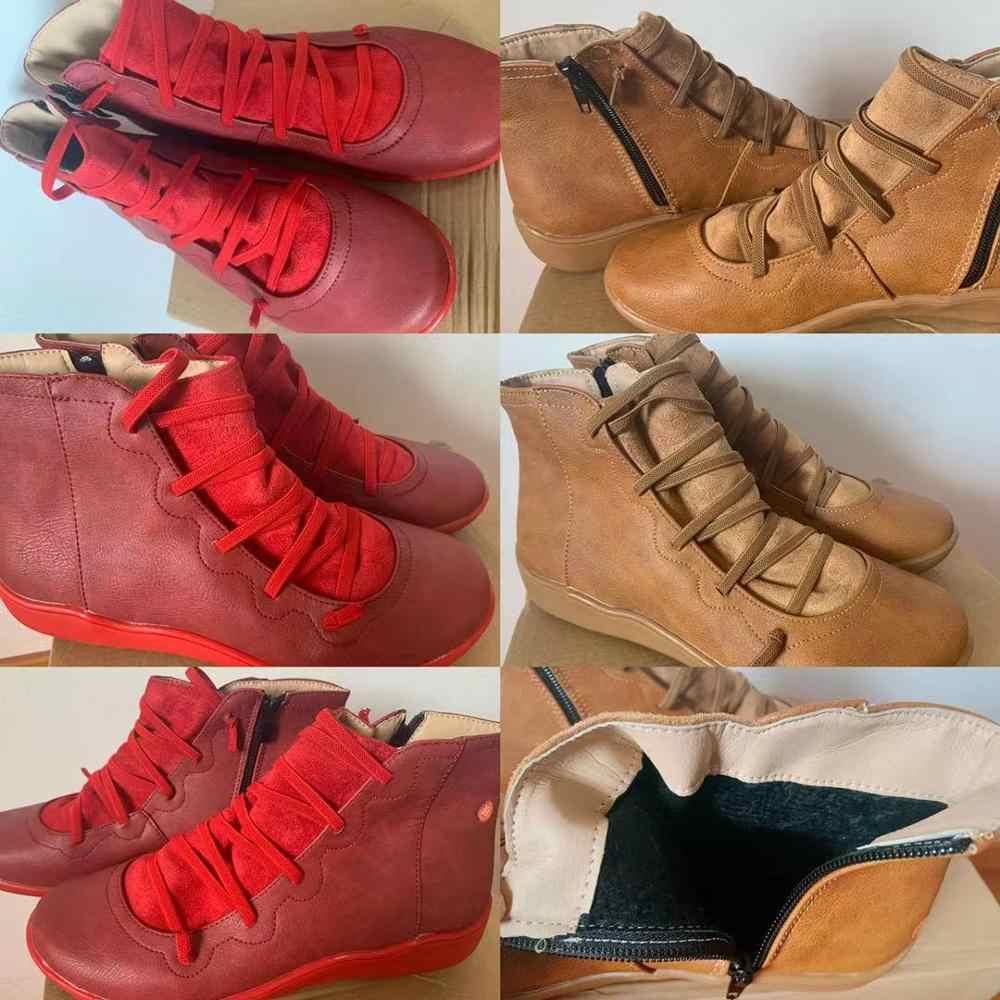 LZJ 2019 botas de nieve de invierno para mujer zapatos de tobillo planos de cuero PU botas cortas marrones con piel para mujer botas con cremallera lateral 35-43