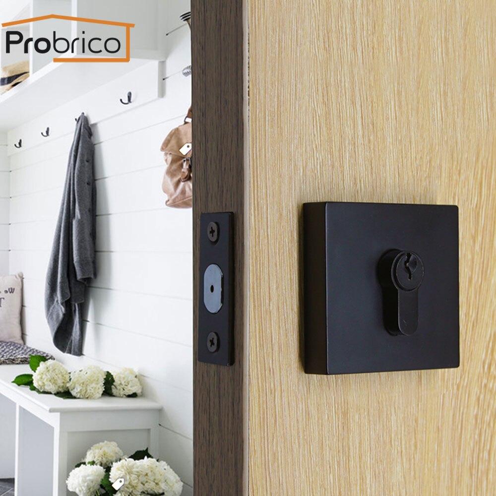 Probrico Hidden Door handles for Interior doors Invisible Mechanical Outdoor deadbolt door Lock Black door handles hardware