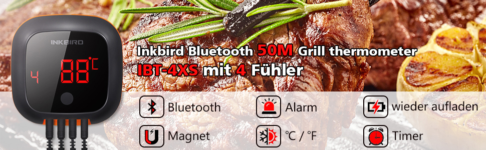 Inkbird BBQ Meat wirelessThermometer IBT-4X IBT-4X Carrrying Cases Box Easy Take
